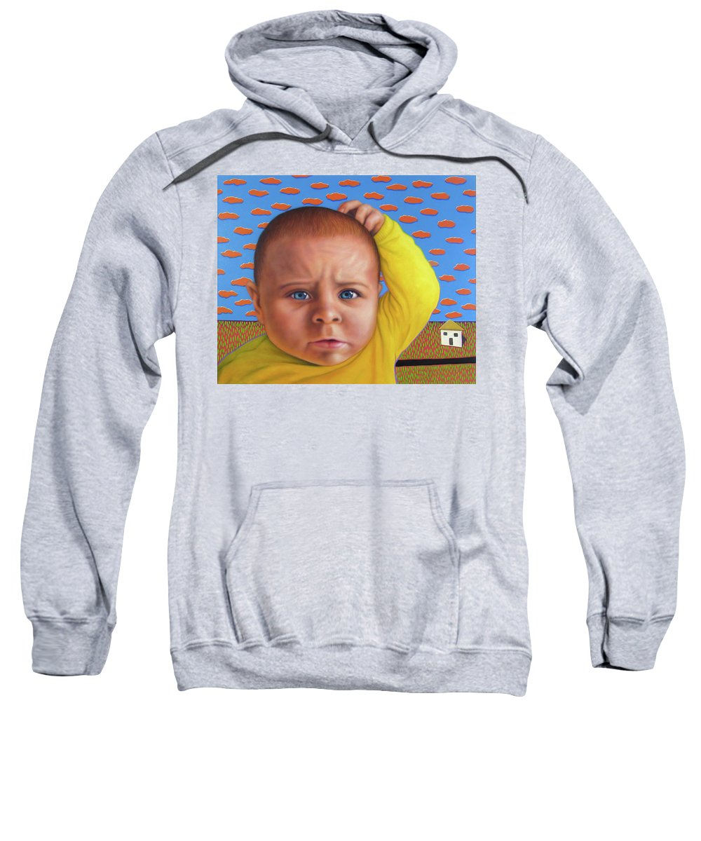 Confusing Sweatshirt featuring the painting It's A Confusing World by James W Johnson