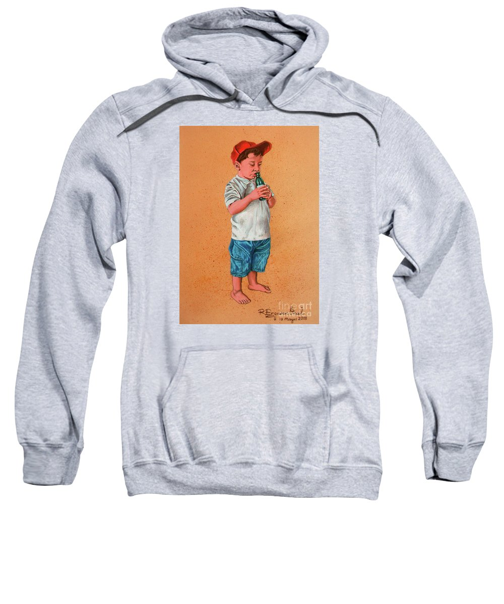 Summer Sweatshirt featuring the painting It's A Hot Day - Es Un Dia Caliente by Rezzan Erguvan-Onal