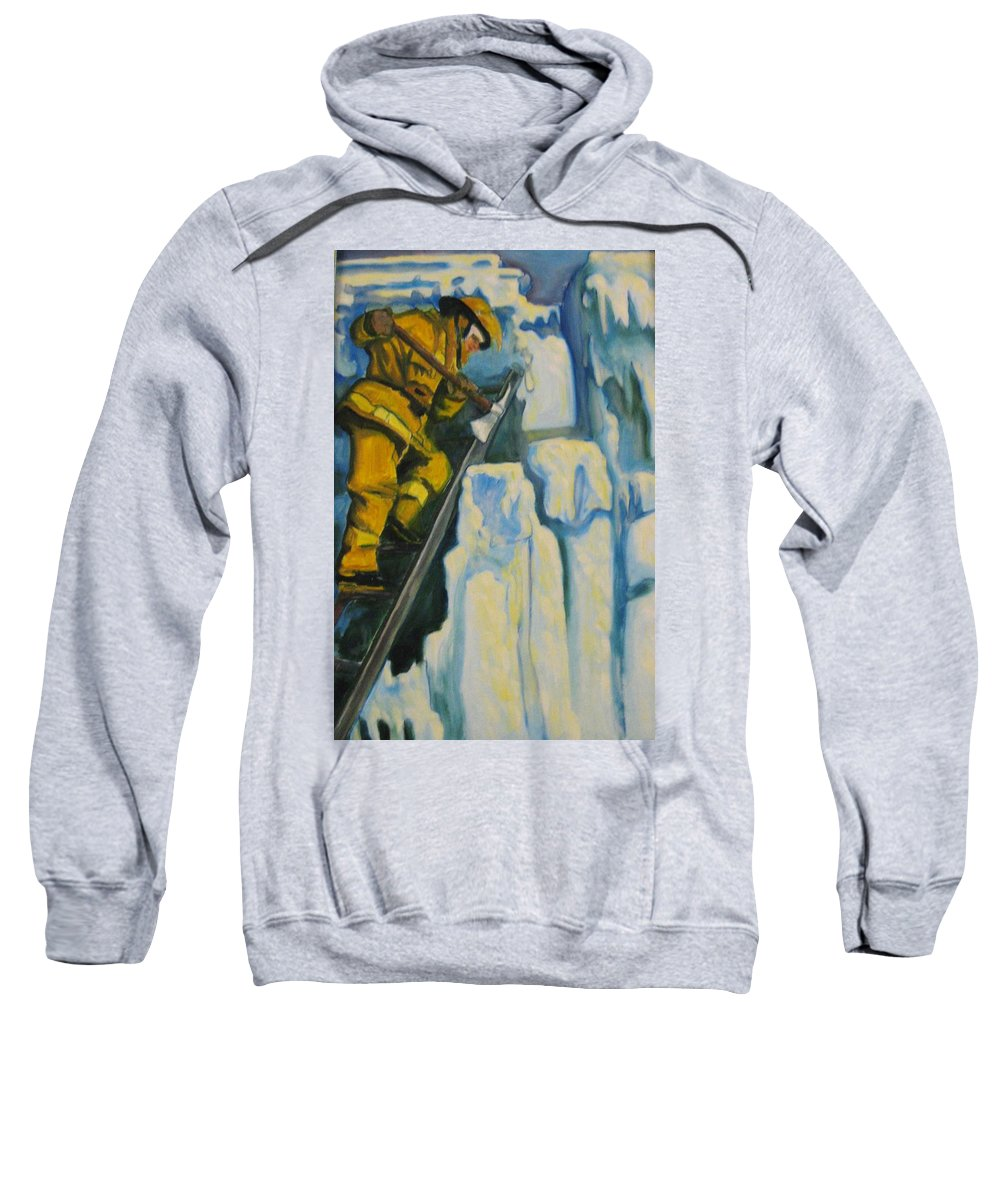 Firefighters Sweatshirt featuring the painting Its Not Over Till Its Over by John Malone