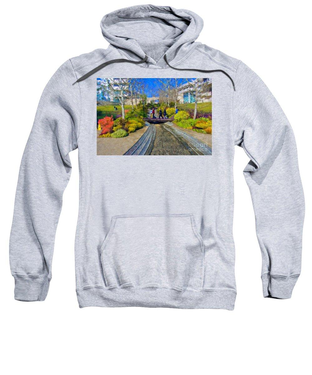 J Paul Getty Sweatshirt featuring the photograph J Paul Getty Museum Garden Terrace by David Zanzinger