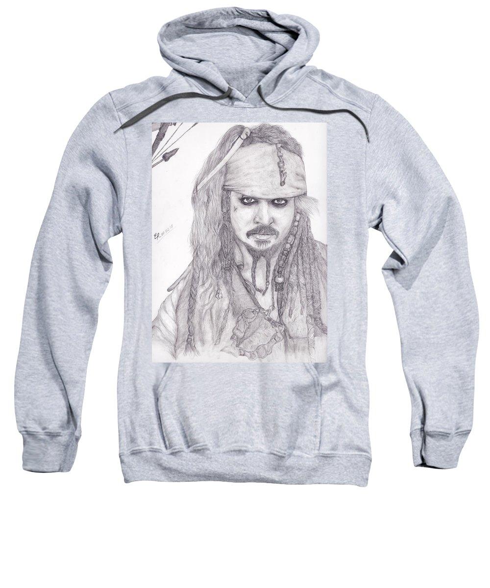 Captain Sweatshirt featuring the drawing Jack Sparrow by Eldhose Reji