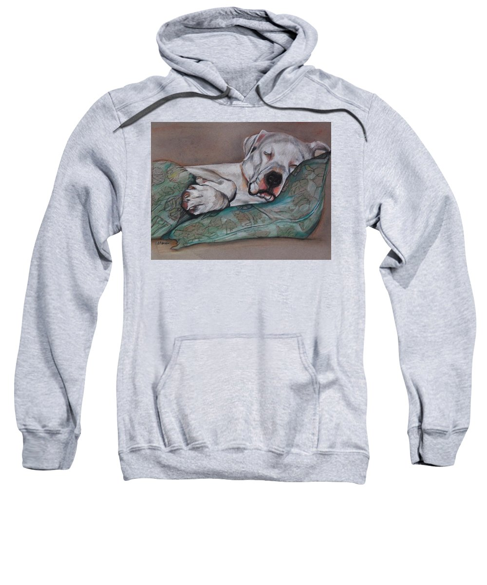 White Dog Sweatshirt featuring the drawing Jackson by Jean Cormier