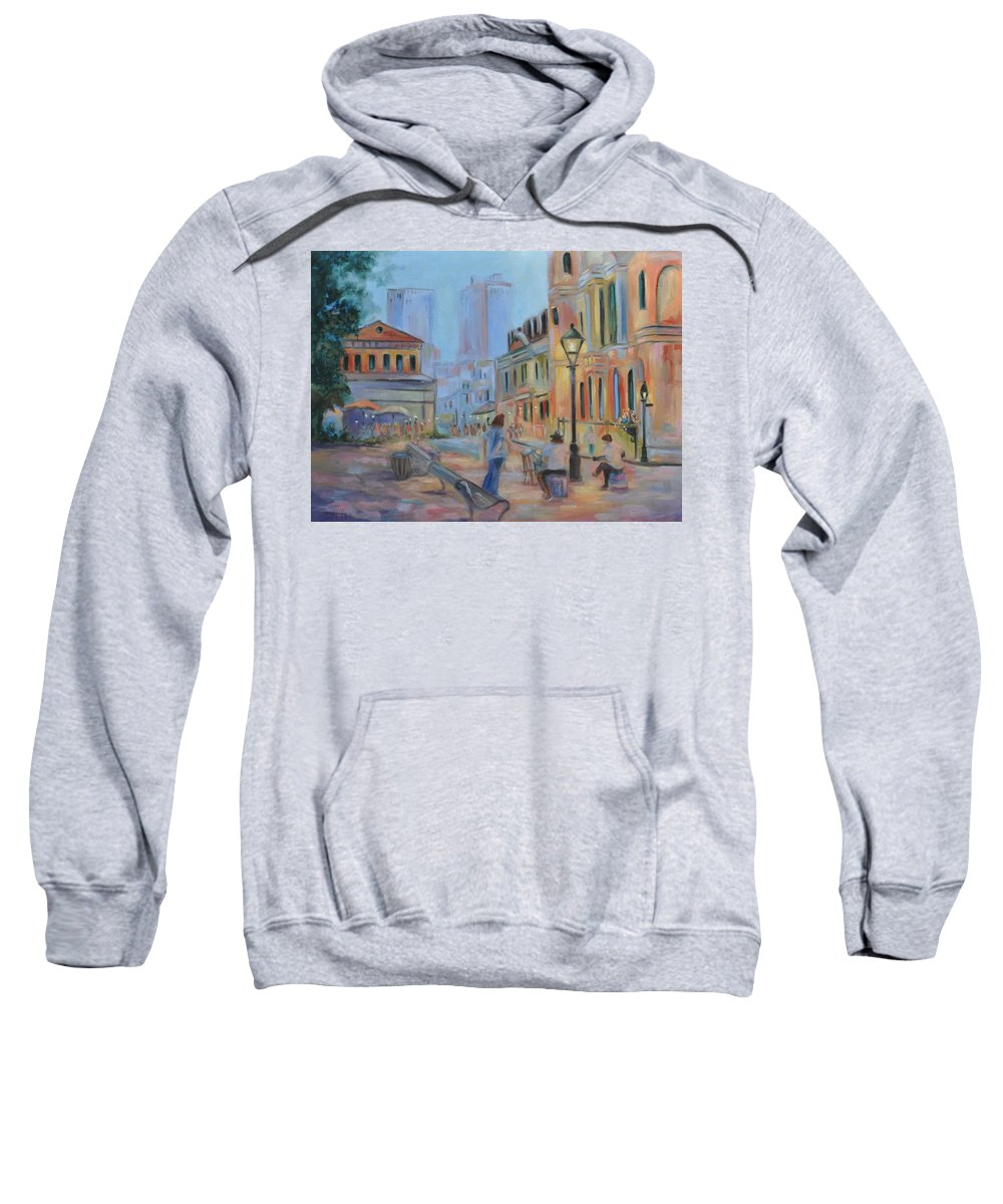 New Orleans Sweatshirt featuring the painting Jackson Square Musicians by Ginger Concepcion