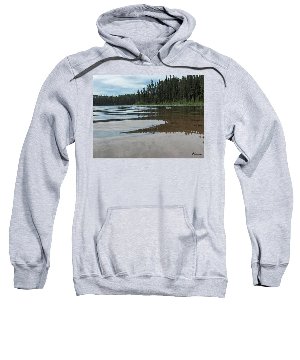 Jade Lake Piprell Lake Hanson Lake Road Northern Saskatchewan Water Clear Forest Trees Sweatshirt featuring the photograph Jade Lake by Andrea Lawrence