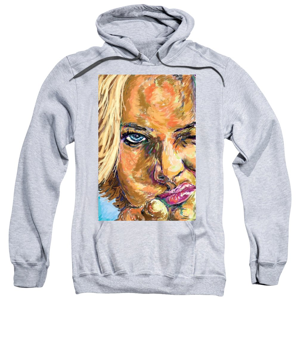 Jaime Pressly Sweatshirt featuring the painting Jaime Pressly by Travis Day
