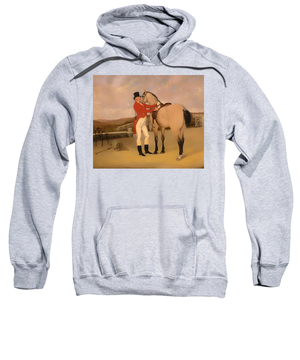 Painting Sweatshirt featuring the painting James Taylor Wray Of The Bedale Hunt With His Dun Hunter by Mountain Dreams
