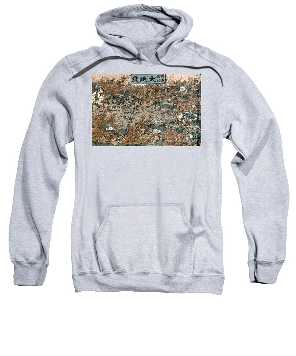 1855 Sweatshirt featuring the photograph Japan: Earthquake, 1855 by Granger