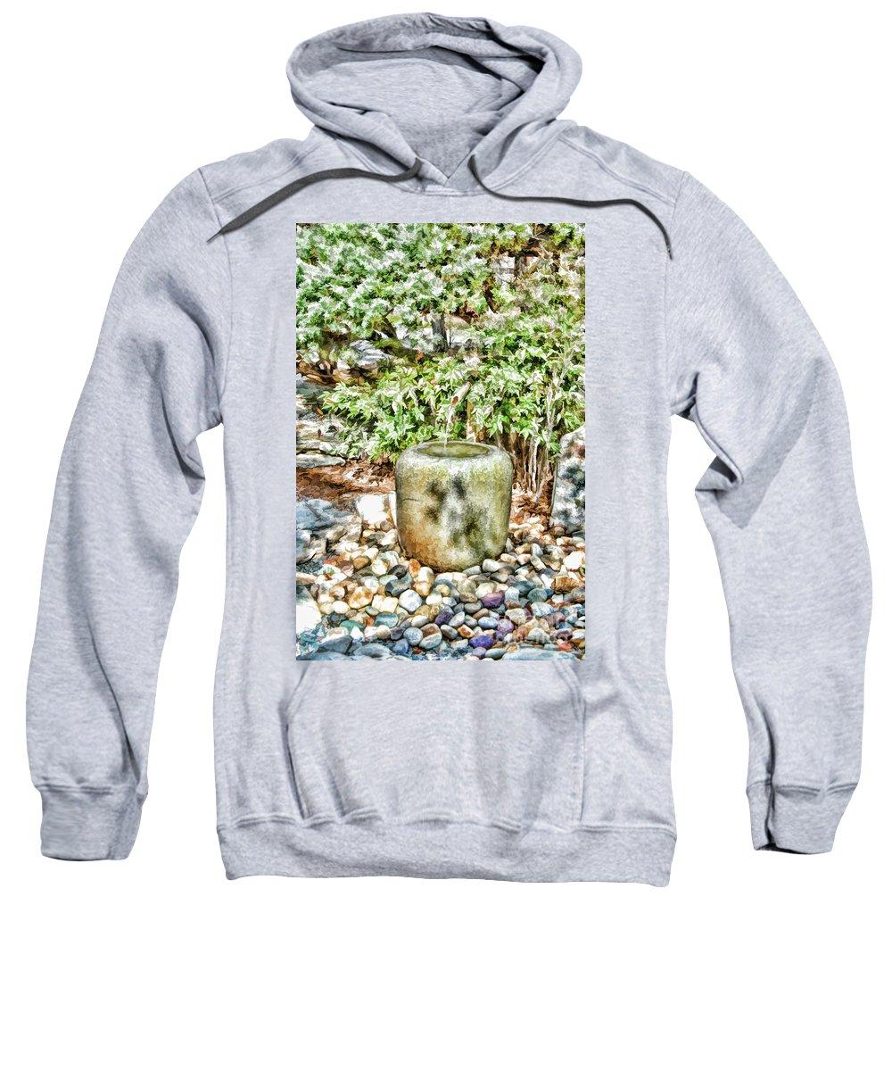 Japan Sweatshirt featuring the painting Japanese Garden 7 by Jeelan Clark