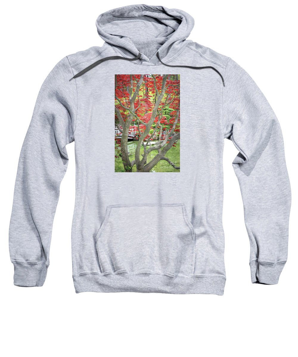 Japanese Garden Sweatshirt featuring the photograph Japanese Maple Tree And Pond by Carol Groenen