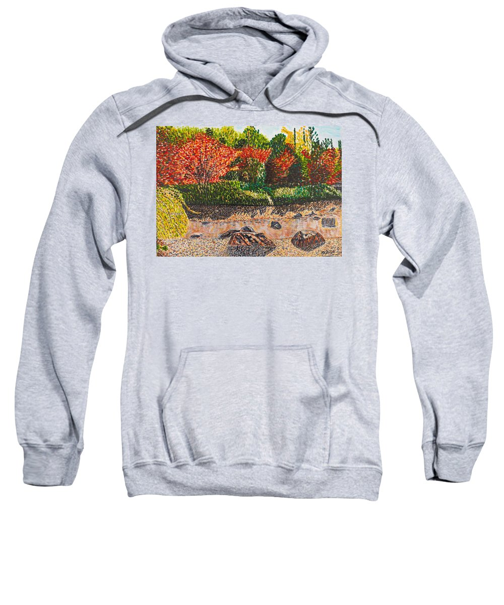 Landscape Sweatshirt featuring the painting Japanese Maple Trees At The Creek by Valerie Ornstein