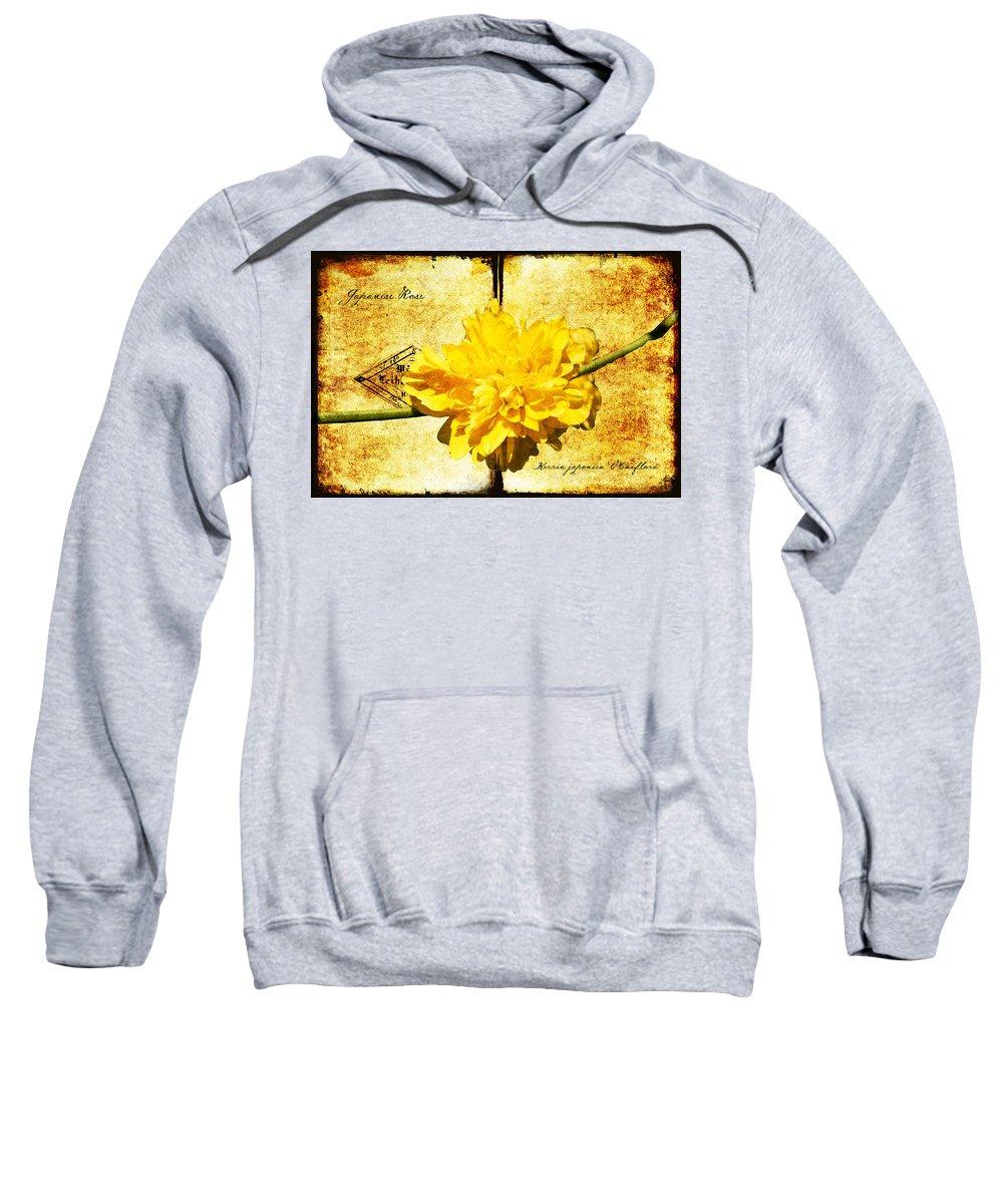 Kerria Sweatshirt featuring the digital art Japanese Rose by Teresa Mucha