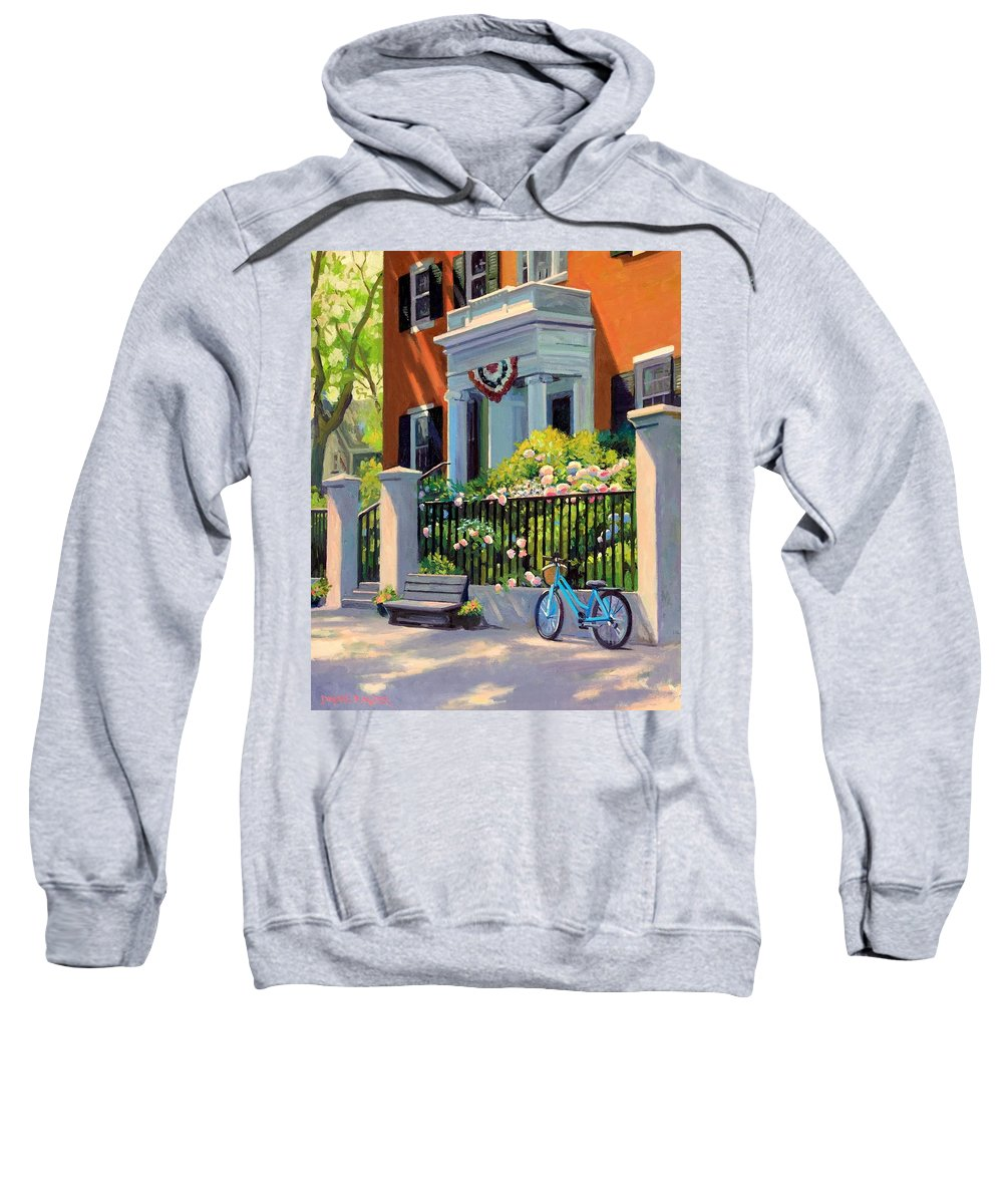 Nantucket Sweatshirt featuring the painting Jared Coffin House by Dianne Panarelli Miller