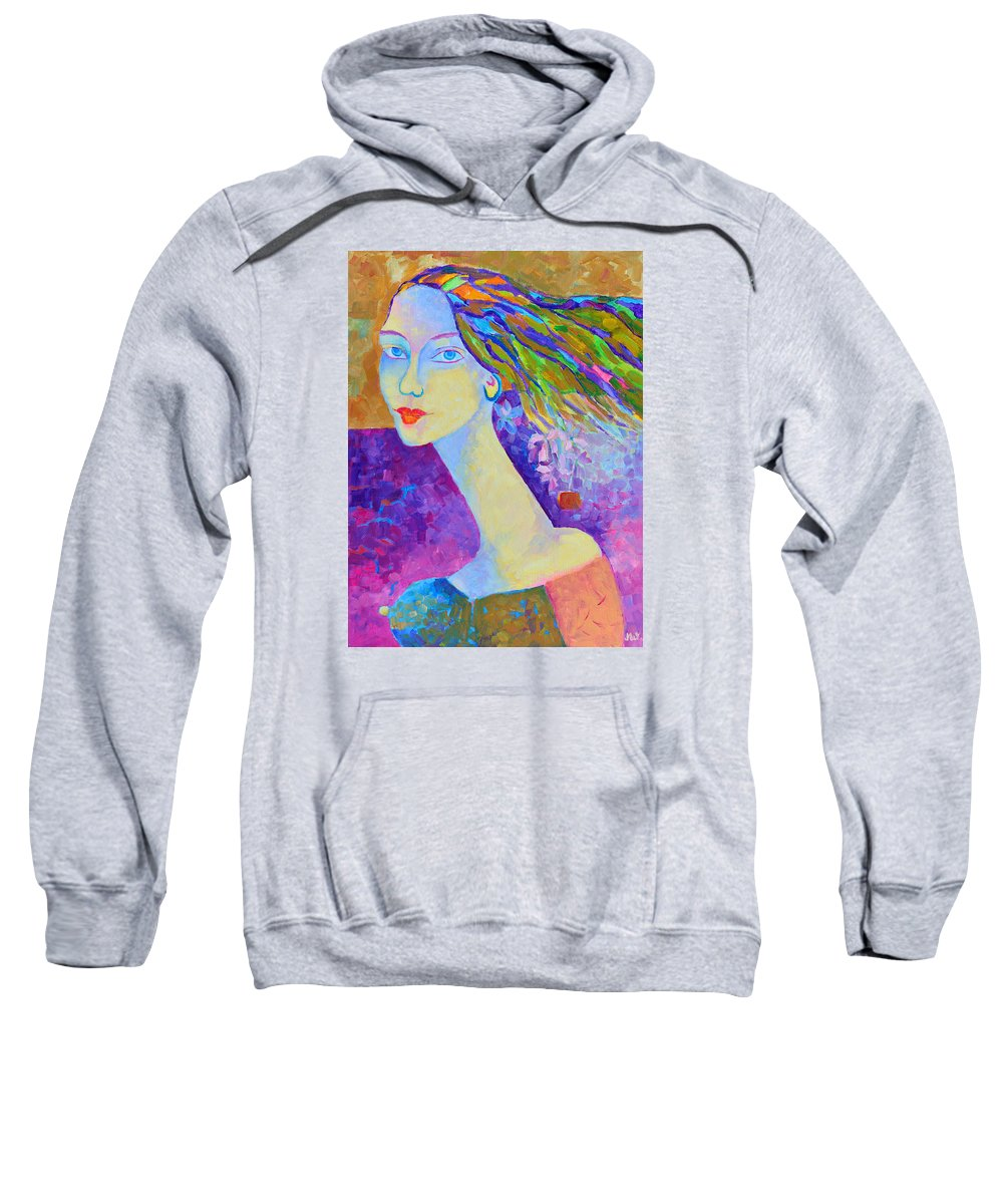 Portrait Modigliani Style Sweatshirt featuring the painting Modigliani Style Portrait Of A Woman Painting Colorful by Magdalena Walulik