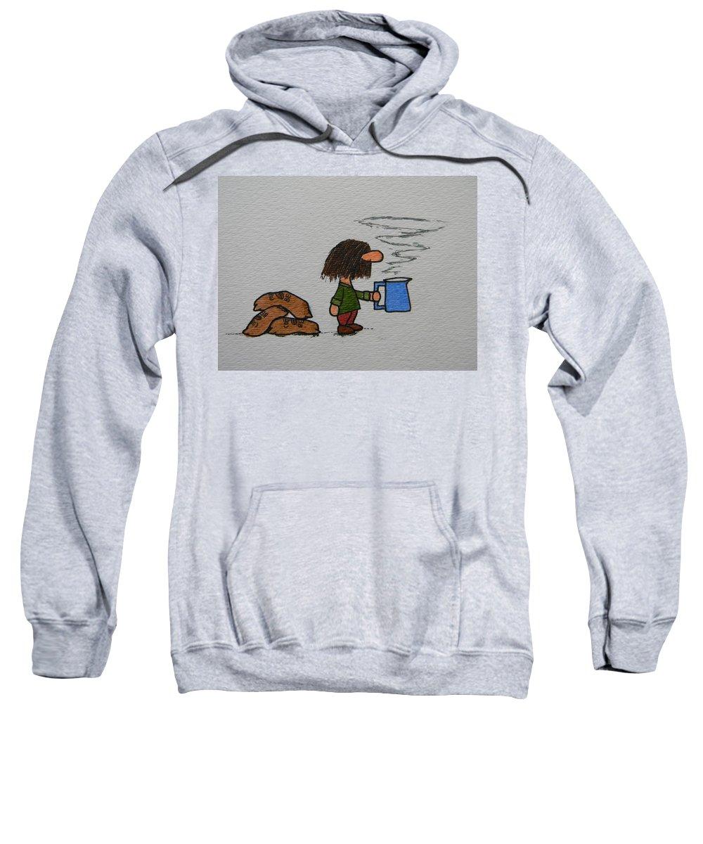 Coffee Sweatshirt featuring the drawing Java by Marwan George Khoury