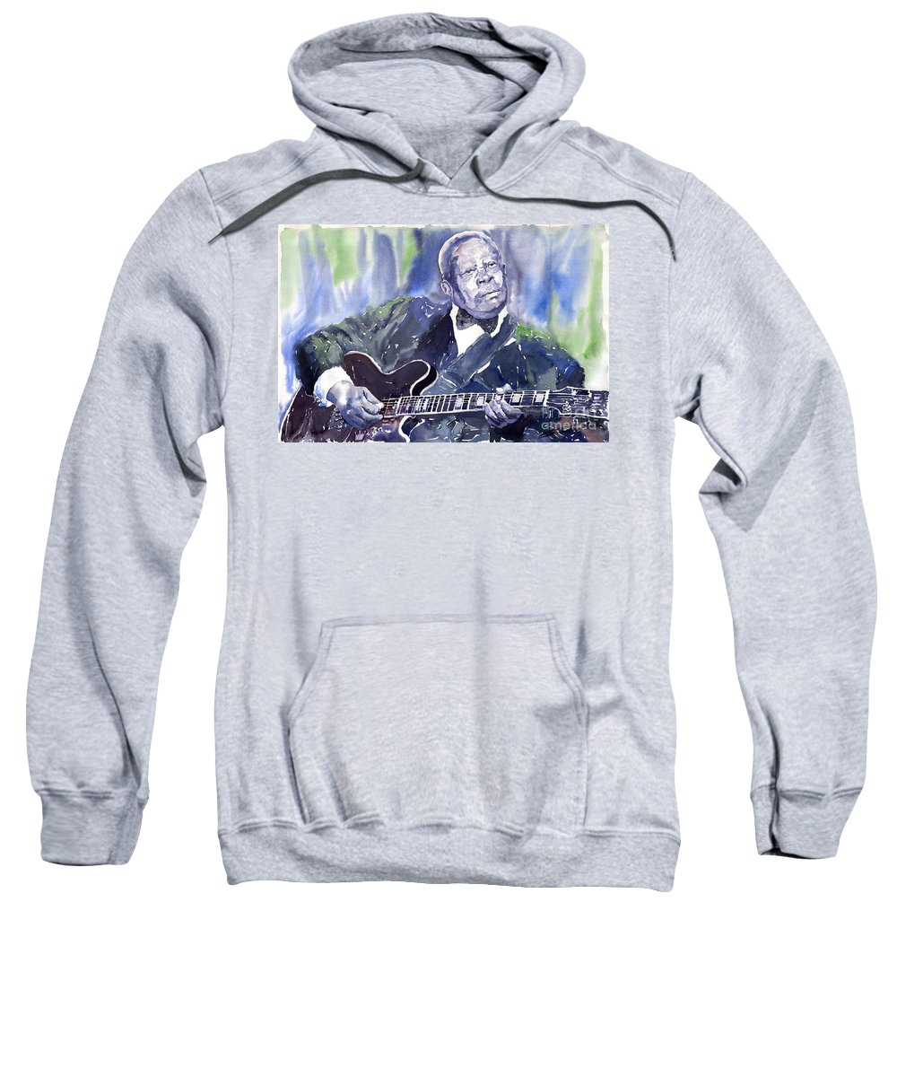 Jazz Bbking Music Watercolor Watercolour Guitarist Portret Sweatshirt featuring the painting Jazz B B King 01 by Yuriy Shevchuk