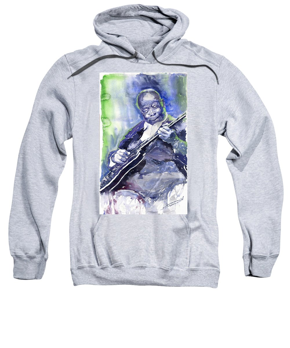 Jazz Sweatshirt featuring the painting Jazz B B King 02 by Yuriy Shevchuk