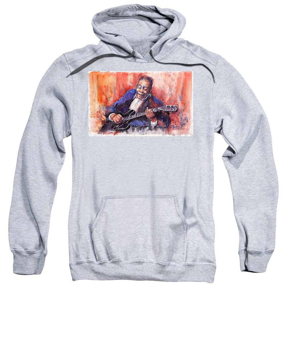Jazz Sweatshirt featuring the painting Jazz B B King 06 A by Yuriy Shevchuk