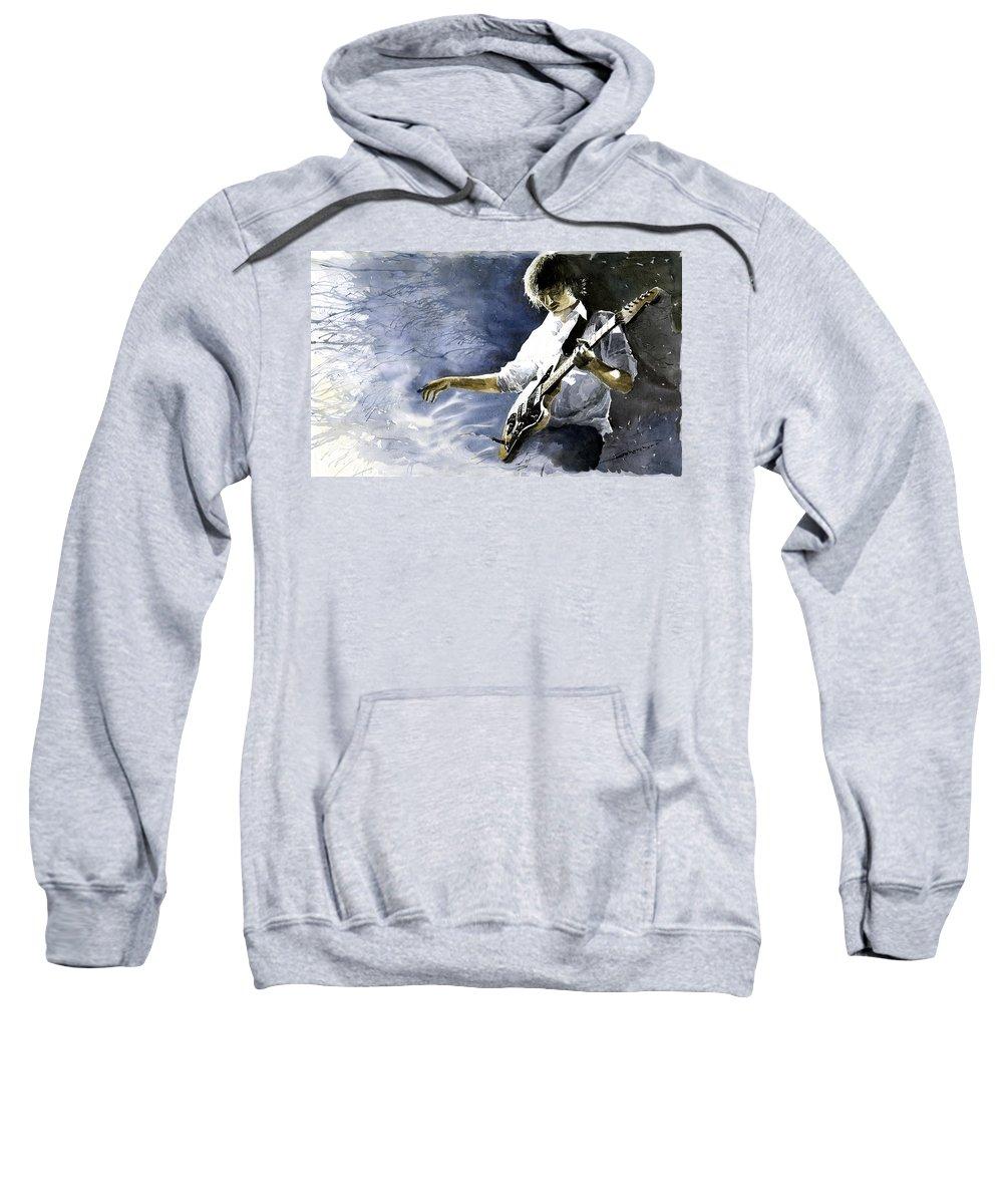 Figurativ Sweatshirt featuring the painting Jazz Guitarist Last Accord by Yuriy Shevchuk