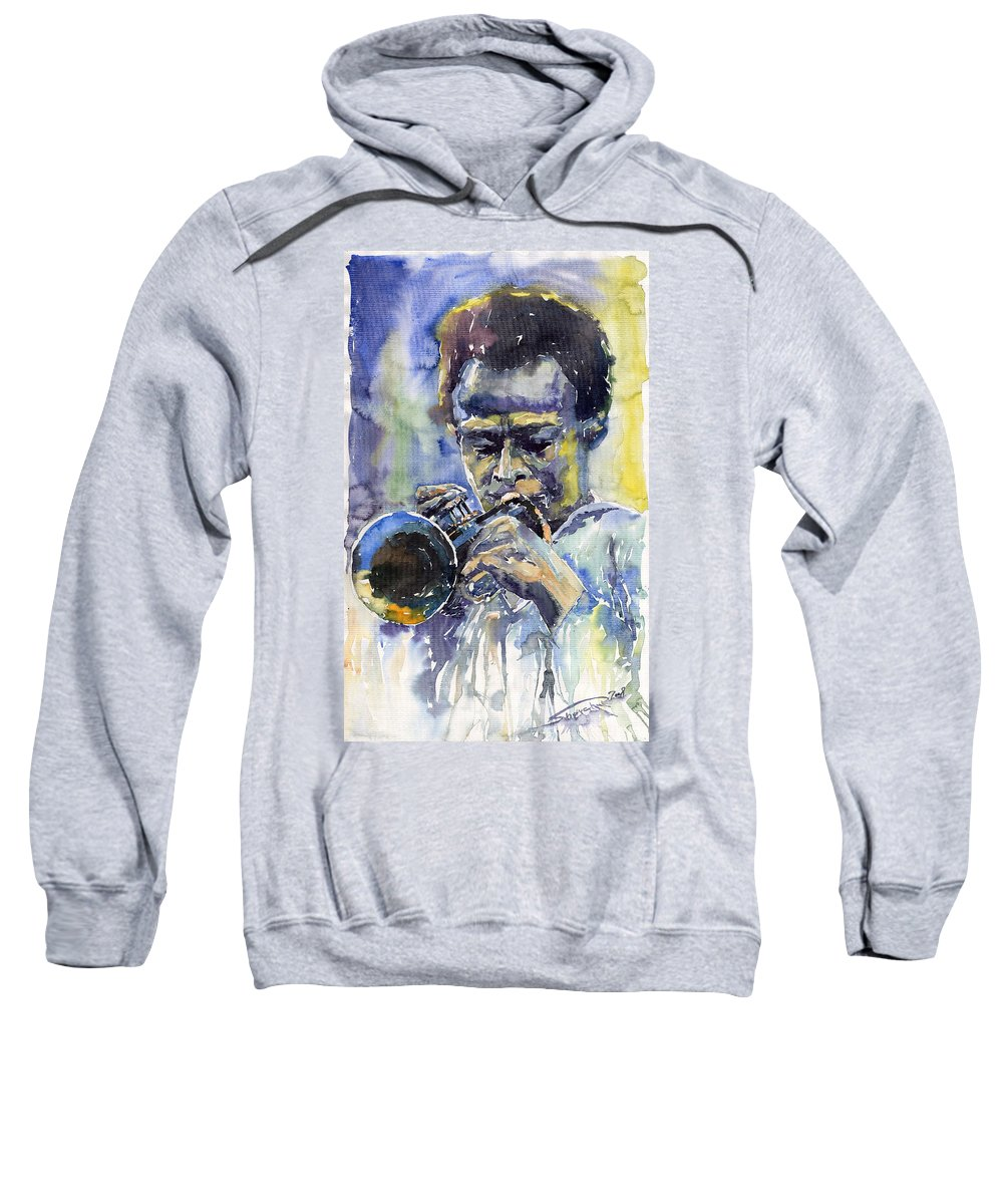 Jazz Sweatshirt featuring the painting Jazz Miles Davis 12 by Yuriy Shevchuk