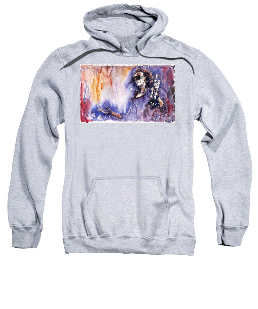 Jazz Sweatshirt featuring the painting Jazz Miles Davis 14 by Yuriy Shevchuk