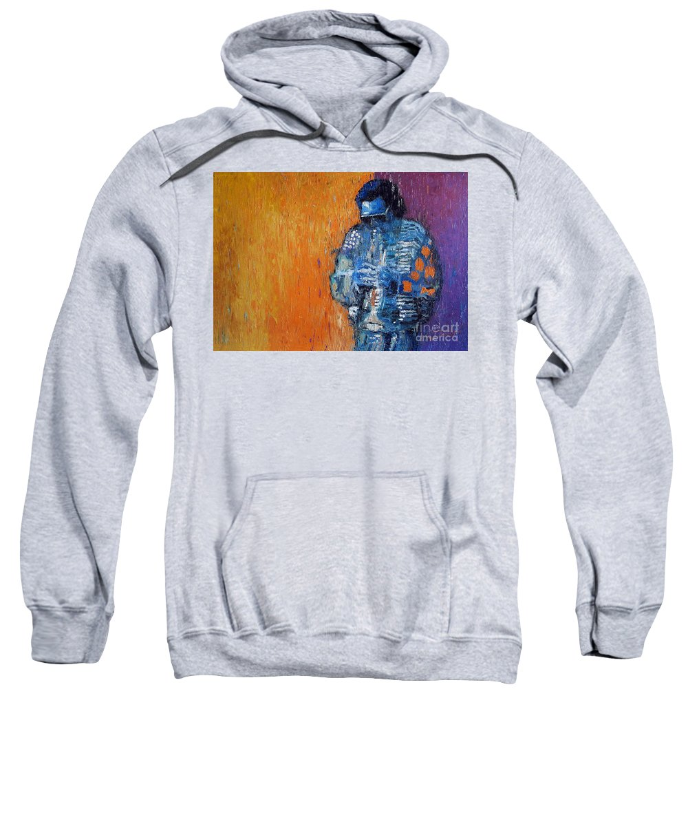 Jazz Sweatshirt featuring the painting Jazz Miles Davis 2 by Yuriy Shevchuk