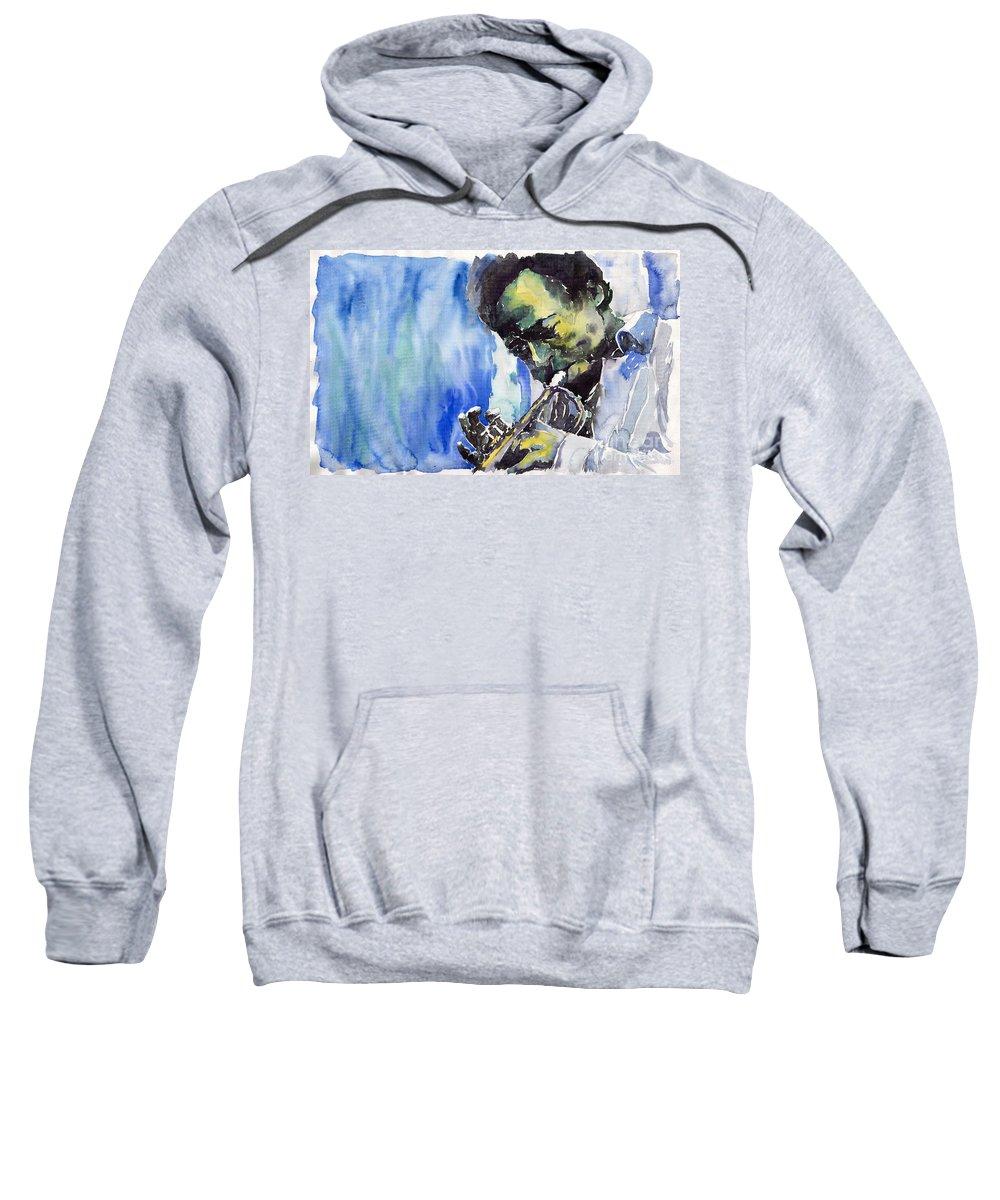 Sweatshirt featuring the painting Jazz Miles Davis 5 by Yuriy Shevchuk