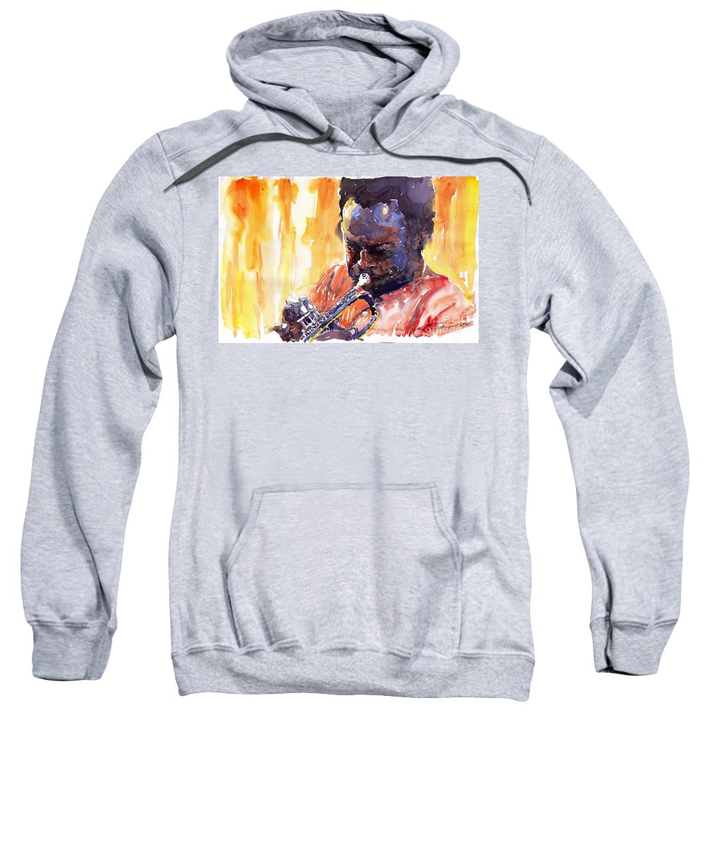Jazz Miles Davis Music Watercolor Watercolour Figurativ Portret Trumpeter Sweatshirt featuring the painting Jazz Miles Davis 8 by Yuriy Shevchuk