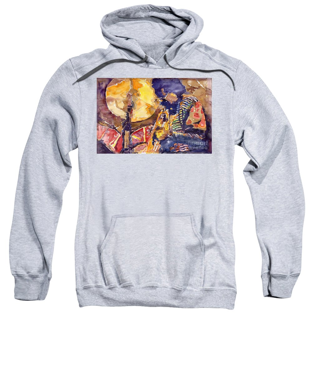 Miles Davis Figurative Jazz Miles Music Musiciant Trumpeter Watercolor Watercolour Sweatshirt featuring the painting Jazz Miles Davis Electric 2 by Yuriy Shevchuk