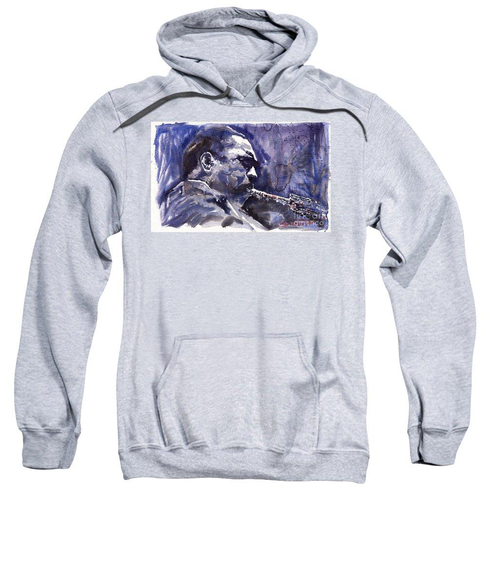 Jazz Sweatshirt featuring the painting Jazz Saxophonist John Coltrane 01 by Yuriy Shevchuk