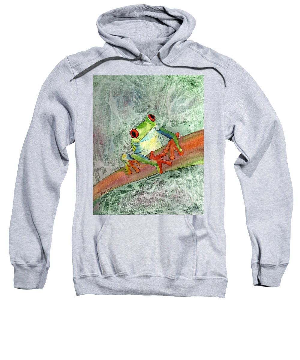 Rainforest Sweatshirt featuring the painting Jeepers Creepers by CB Woodling