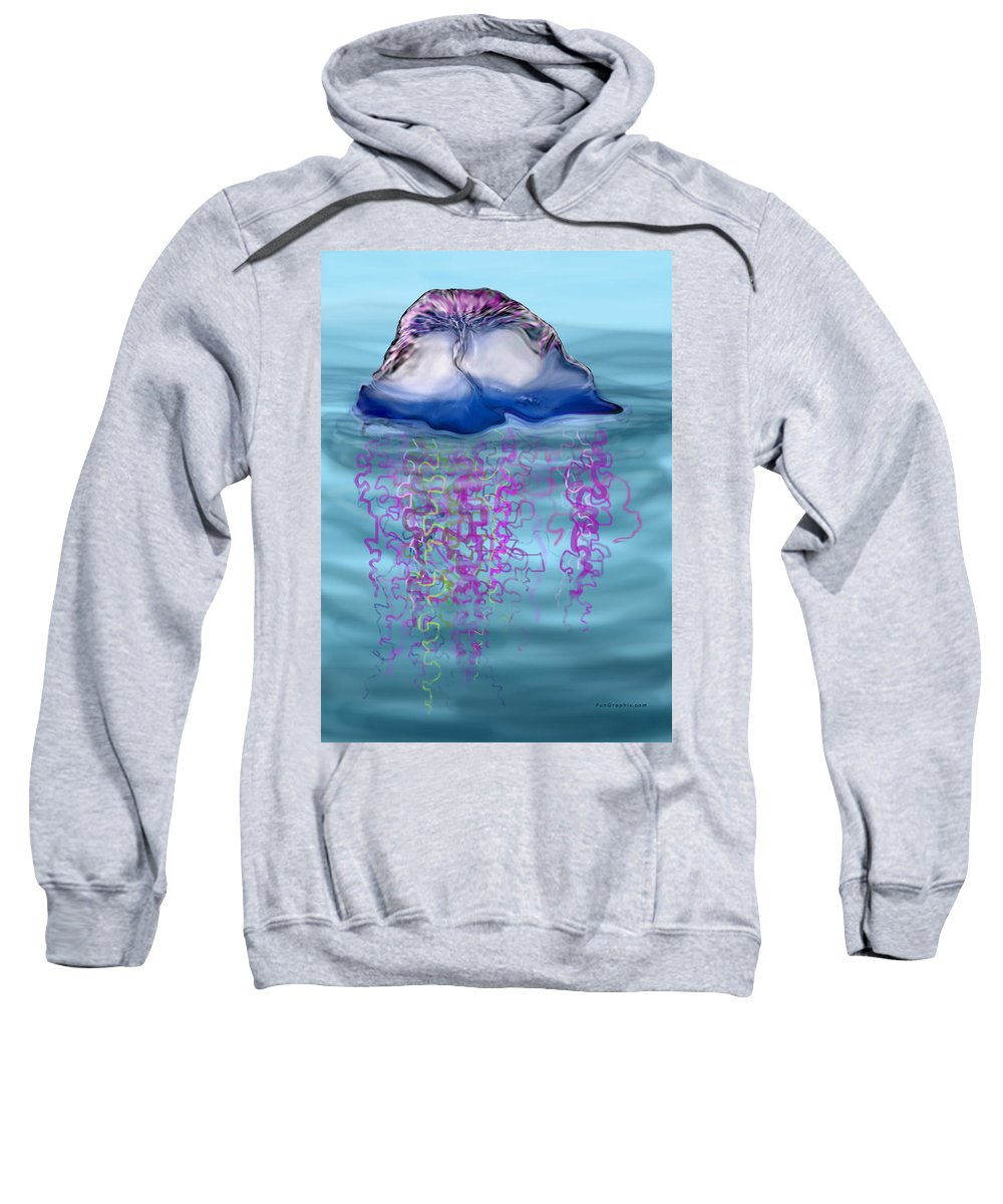 Jellyfish Sweatshirt featuring the greeting card Jellyfish by Kevin Middleton