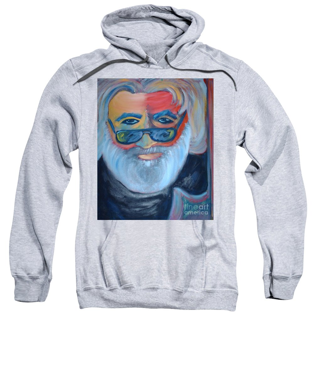Jerry Garcia Sweatshirt featuring the painting Jerry by Michael Mooney