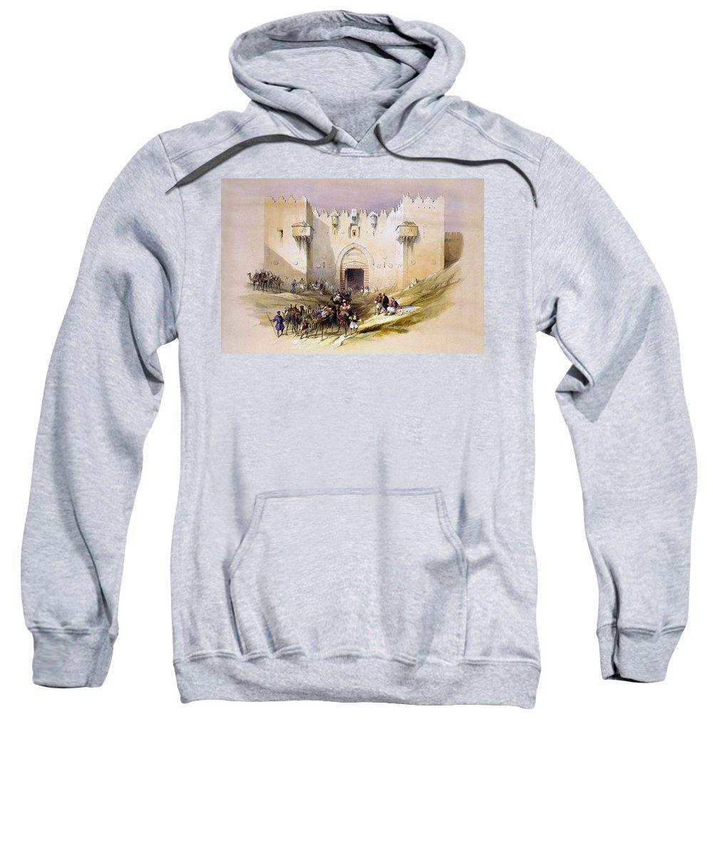 Jerusalem Sweatshirt featuring the digital art Jerusalem Gate by Munir Alawi