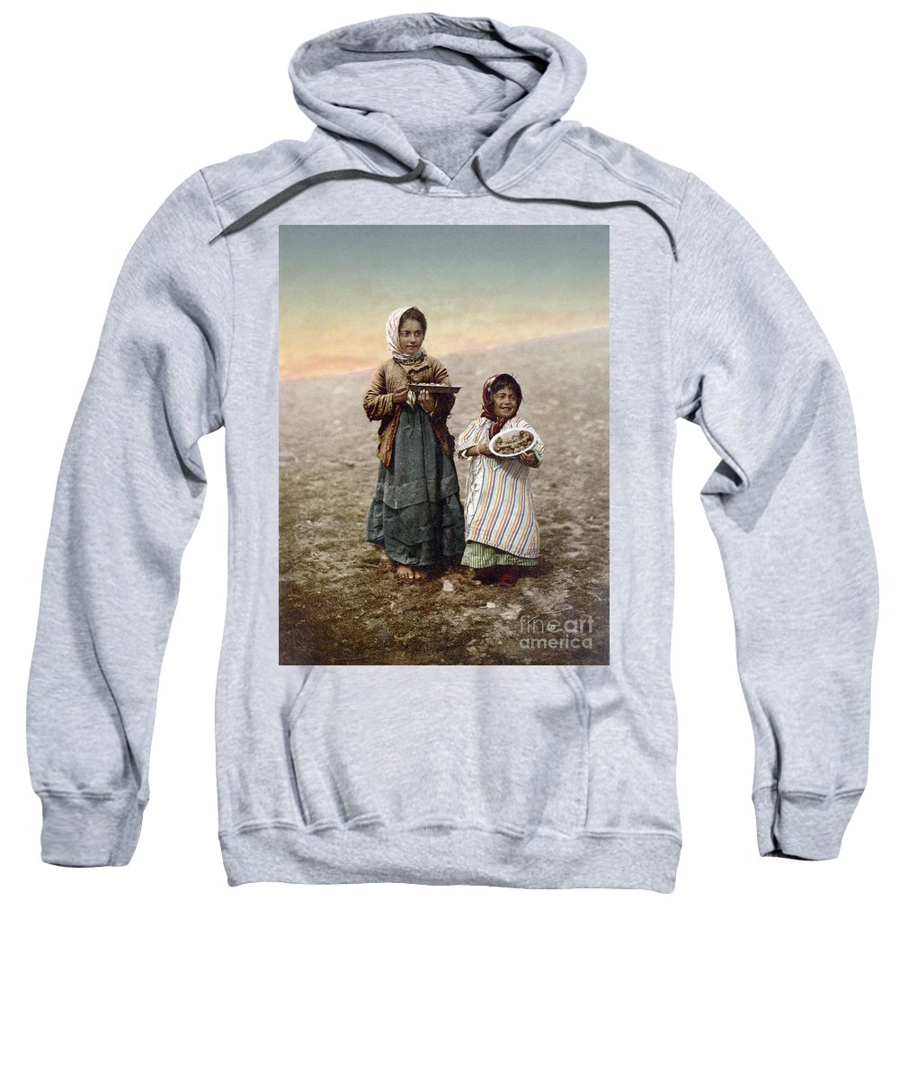 1900 Sweatshirt featuring the photograph Jerusalem Girls, C1900 by Granger