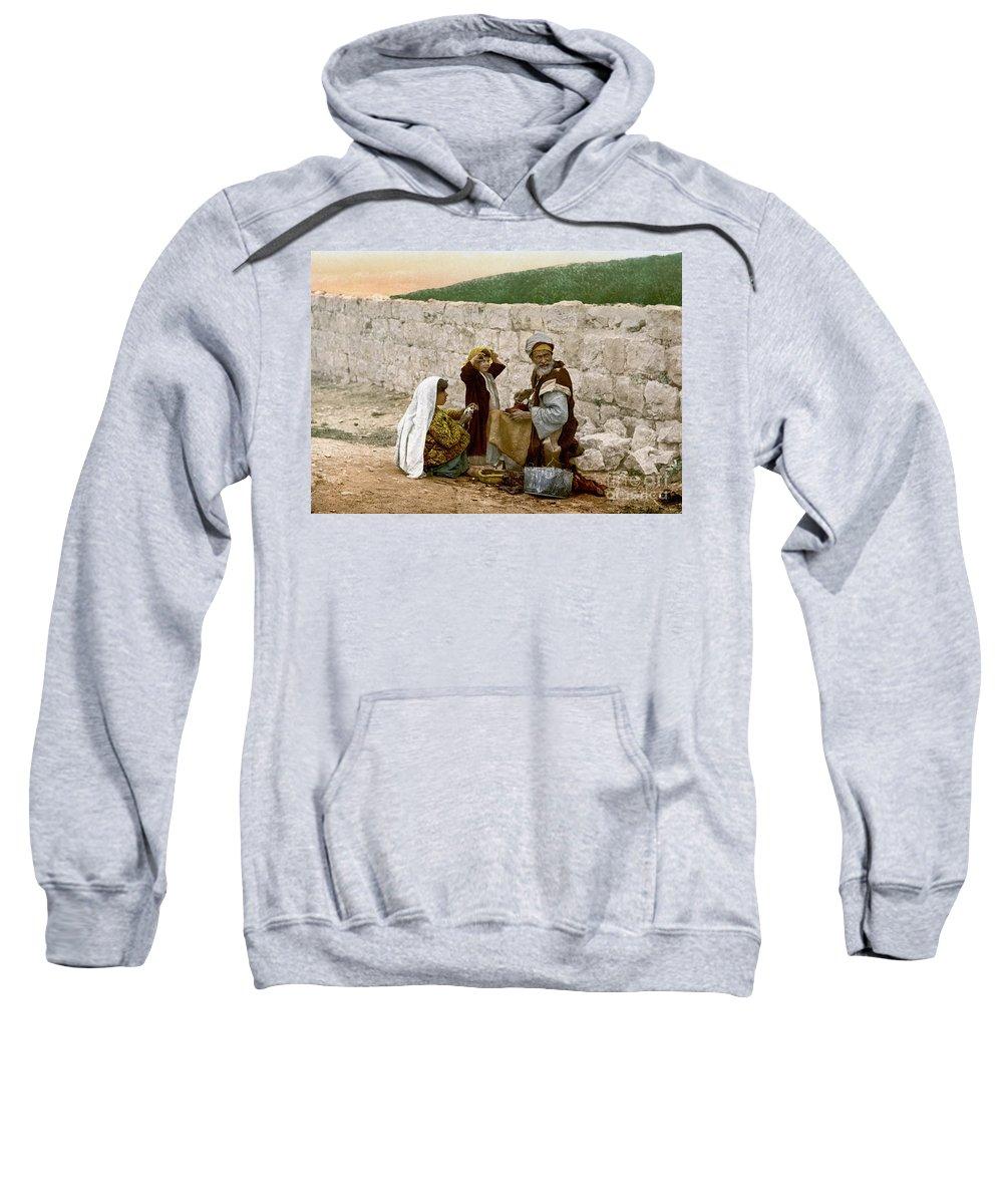 1900 Sweatshirt featuring the photograph Jerusalem Shoemaker, C1900 by Granger