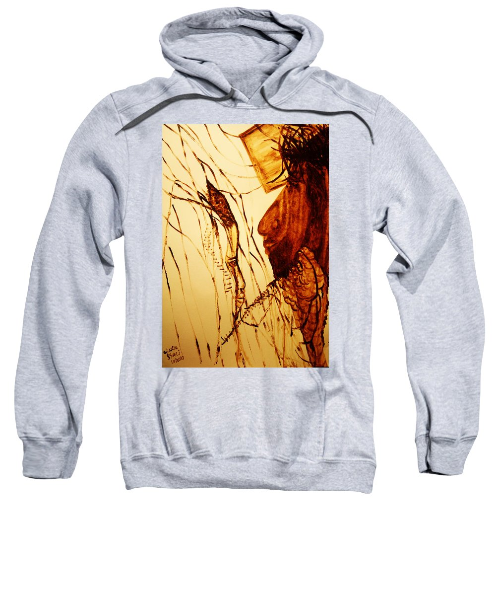 Jesus Sweatshirt featuring the painting Jesus And Mother Mary by Gloria Ssali