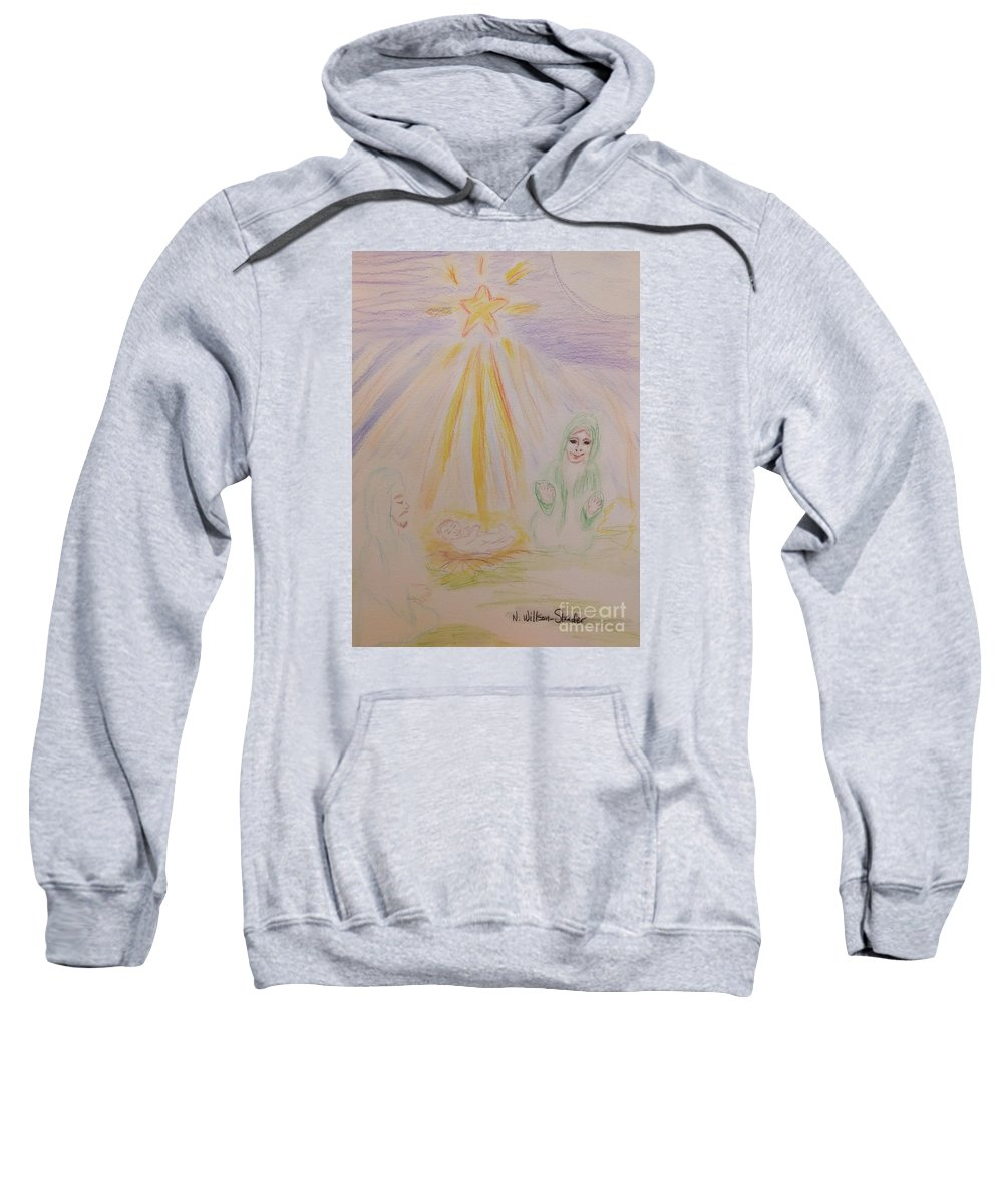Nativity Sweatshirt featuring the drawing Jesus Is Born by N Willson-Strader