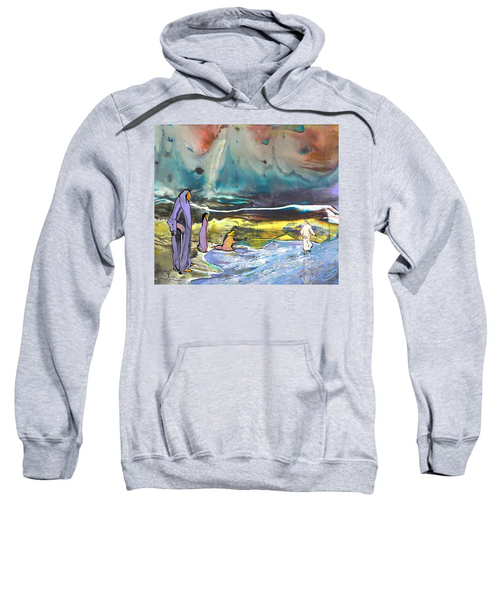 Religion Sweatshirt featuring the painting Jesus Walking On The Water by Miki De Goodaboom