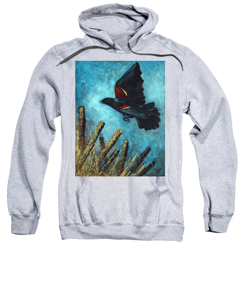 Acrylic Sweatshirt featuring the painting Jewel Among The Cattails by Suzanne McKee