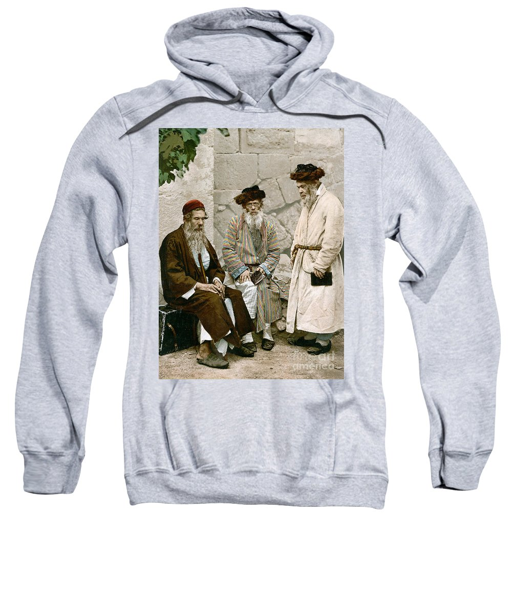 1900 Sweatshirt featuring the photograph Jews In Jerusalem, C1900 by Granger