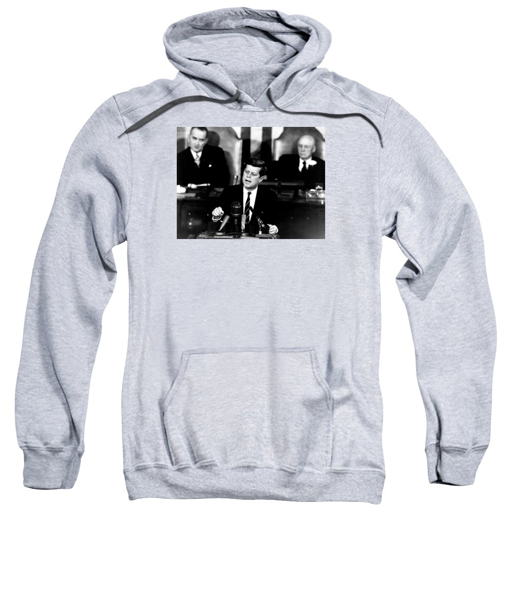 Jfk Sweatshirt featuring the photograph Jfk Announces Moon Landing Mission by War Is Hell Store