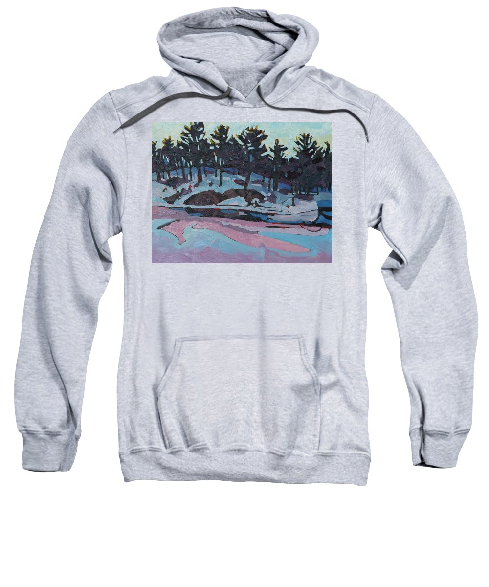 Jim Sweatshirt featuring the painting Jim Day Dawn by Phil Chadwick