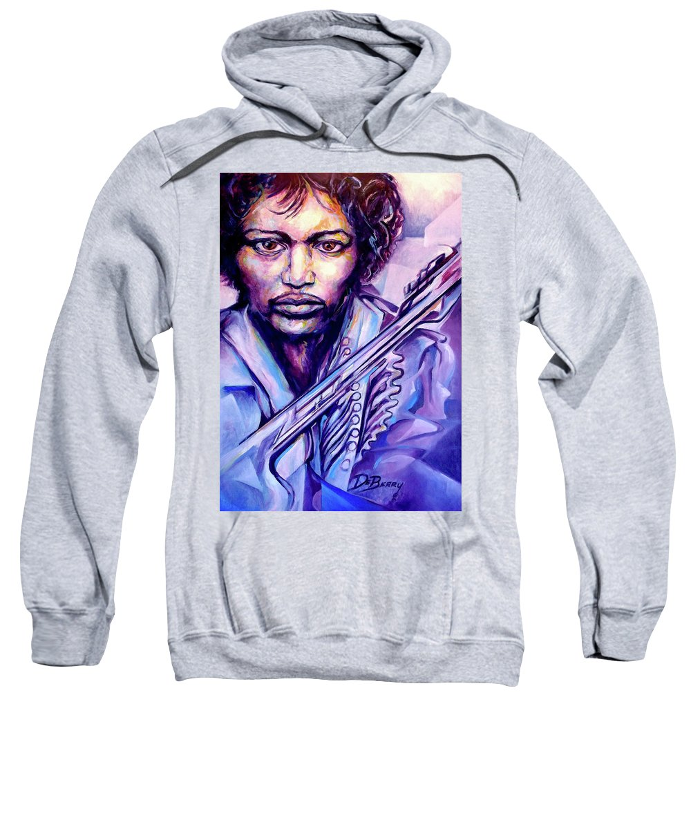 Sweatshirt featuring the painting Jimi by Lloyd DeBerry