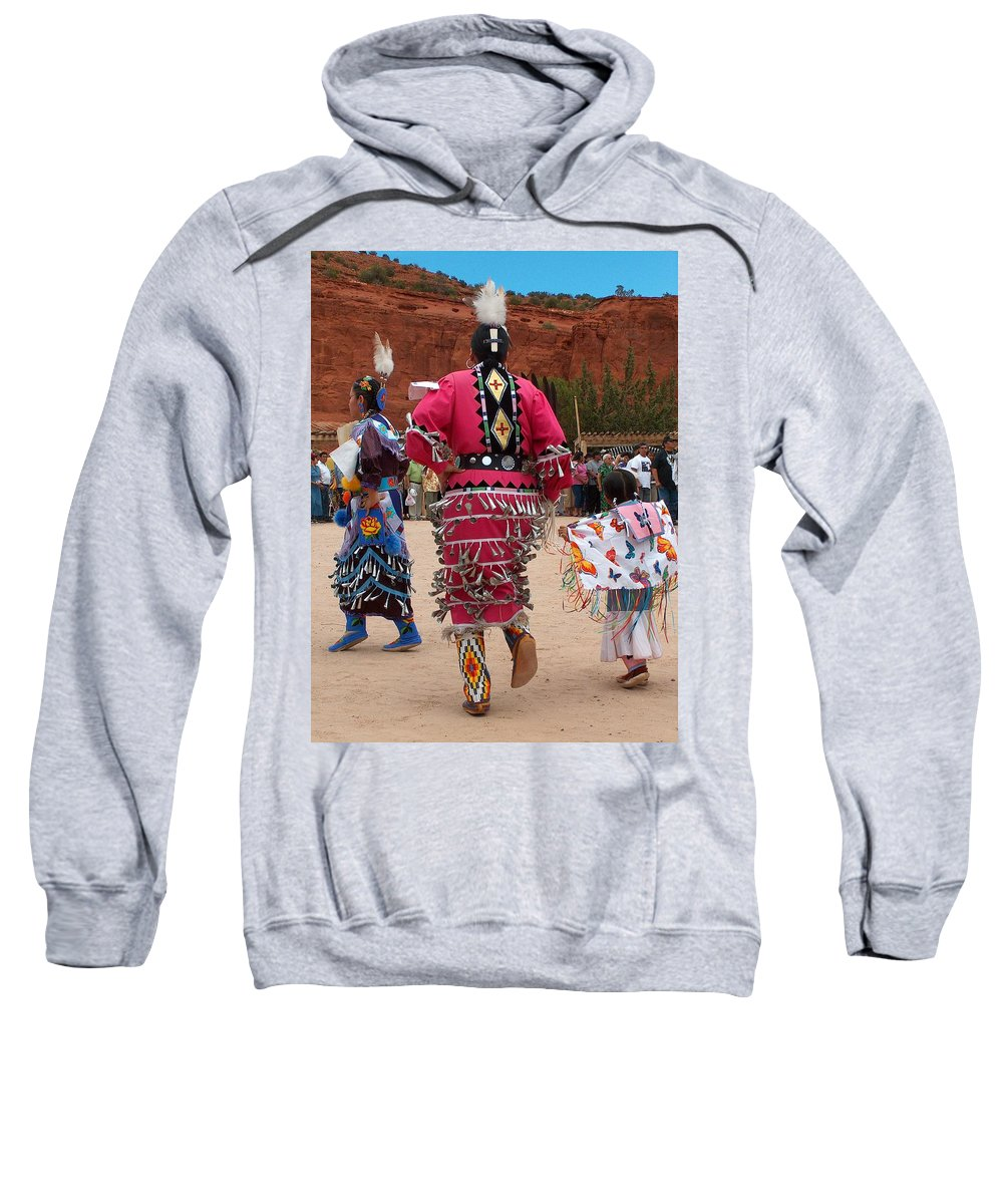 Pow-wow Sweatshirt featuring the photograph Jingle Dress And Fancy Shawl Dancers by Tim McCarthy