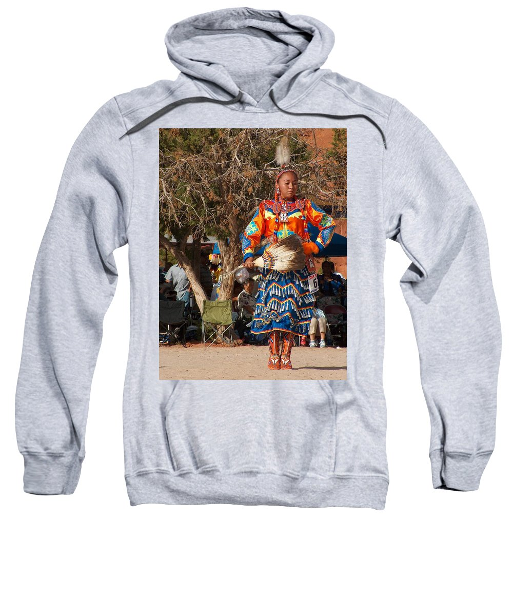 Pow-wow Dancer Sweatshirt featuring the photograph Jingle Dress Dancer At Star Feather Pow-wow by Tim McCarthy