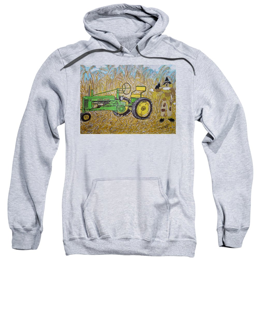 John Deere Sweatshirt featuring the painting John Deere Tractor And The Scarecrow by Kathy Marrs Chandler