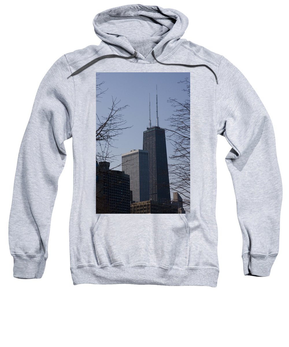 John Hancock Center Building Tower Chicago Windy City Tall Skyscraper High Urban Metro Sweatshirt featuring the photograph John Hancock Center by Andrei Shliakhau