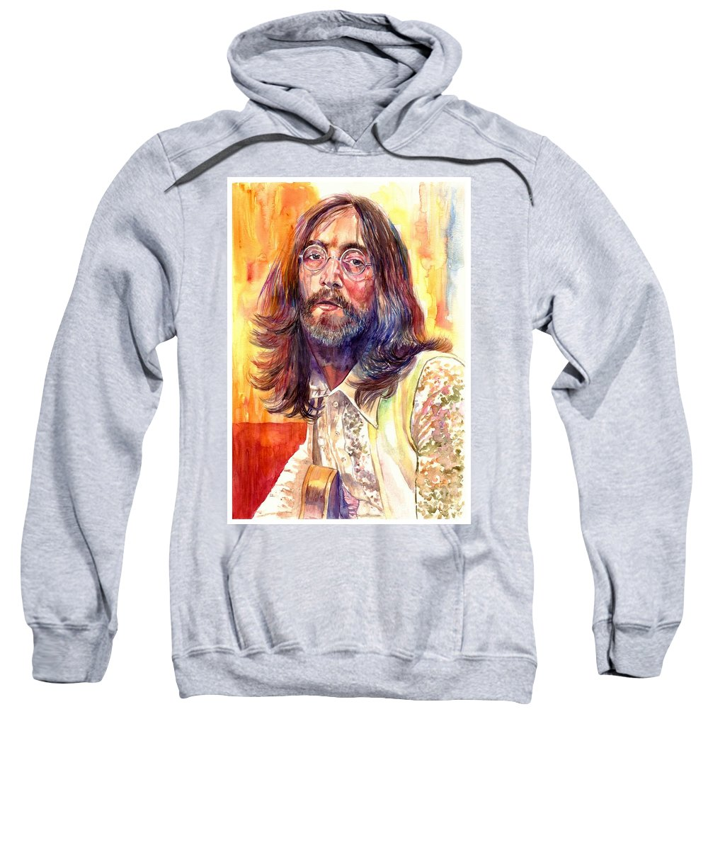 John Lennon Sweatshirt featuring the painting John Lennon watercolor by Suzann Sines