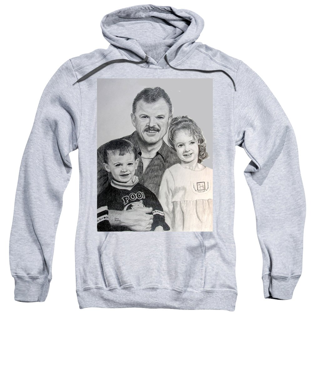 Portrait Sweatshirt featuring the drawing John Megan And Joey by Stan Hamilton