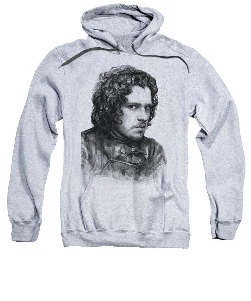 Watercolor Sweatshirt featuring the painting Jon Snow Game Of Thrones by Olga Shvartsur